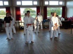 Students performing Kata in formation